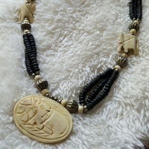 Jewelry - Indian Hand Carved Bovine Bone Elephant Necklace